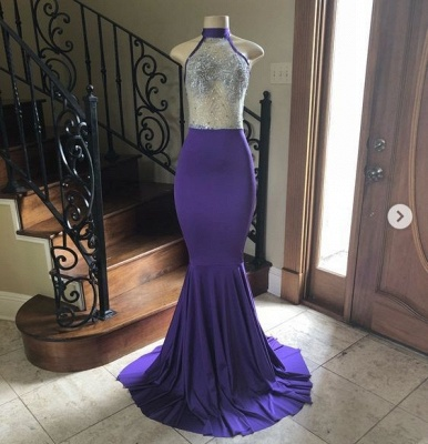 Sexy High Neck Sheer Top Mermaid Floor Length Prom Dresses_2