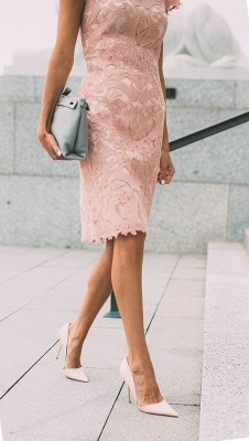 Sheath Blushing Pink Prom Dresses | Short Sleeves Lace Evening Gowns_5