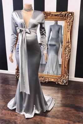 Vneck Long Sleeves Silky Ribbons Floor Length Maternity Dresses_1