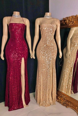 Stylish Spaghetti Straps Sequins Criss-cross Straps Column Prom Dresses_1