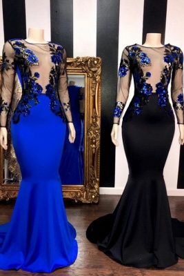 Jewel Sheer Long Sleeves Appliques Mermaid Long Prom Dresses_1