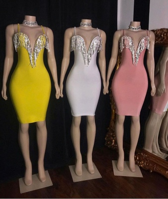 Hot Sexy Spaghetti Straps Bodycon Short Party Dresses with Fringes_2