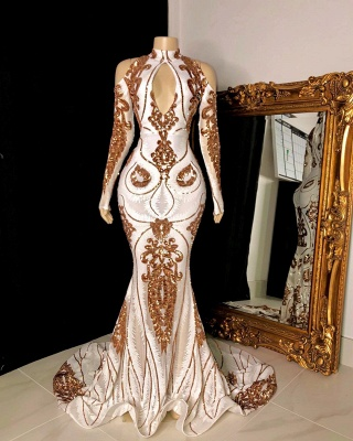 White and Gold High Neck Keyhole Long Sleeves Mermaid Prom Dresses_2