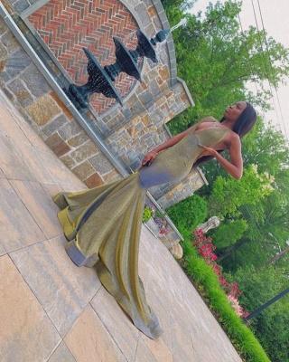Halter V-neck Floor Length Metallic Mermaid Prom Dresses_2