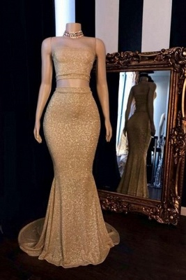 Two Piece Strapless Bodice Sequin Mermaid Long Prom Dresses_1