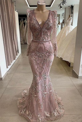 Gorgeous V-neck Long Sleeves Lace Fitted Prom Dresses_1