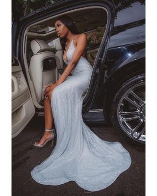 Sparkly Halter Deep V-neck High Slit Sequin Prom Dresses_2