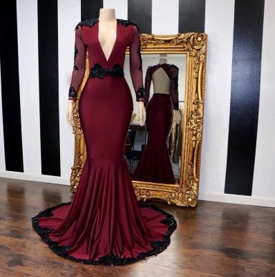 Stylish Mermaid Deep-V-Neck Long-Sleeves Appliques Floor-Length Prom Dresses_4