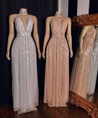 Glitter Spaghetti Straps Deep V-neck Sequined Aline Long Prom Dresses_2