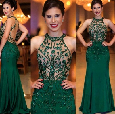 Emerald High Neck Sleeveless Sheer Fitted Prom Dresses_2