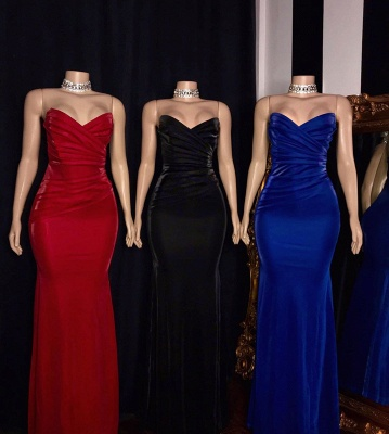 Stiff Strapless Sweetheart Column Floor Length Prom Dresses_2