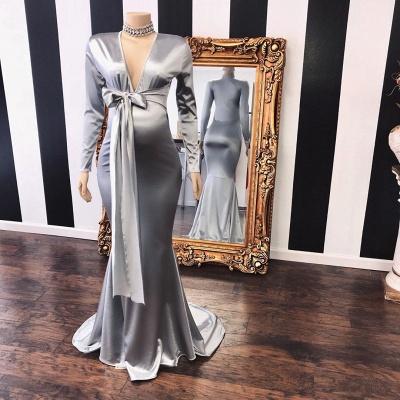 Vneck Long Sleeves Silky Ribbons Floor Length Maternity Dresses_2
