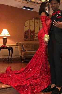 Off the Shoulder Long Sleeves Sequin Red Prom Dresses_3