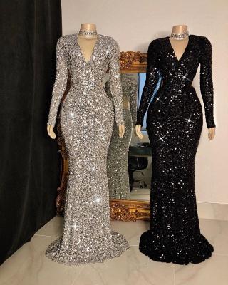 Glitter V-neck Long Sleeves Form-fitting Floor Length Prom Dresses_2