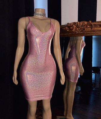 Spaghetti Straps V-neck Sexy Pink Bodycon Short party Dresses_2