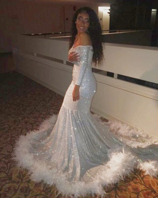 Off the Shoulder Long Sleeves Sequin Mermaid Prom Dresses with Fur_4