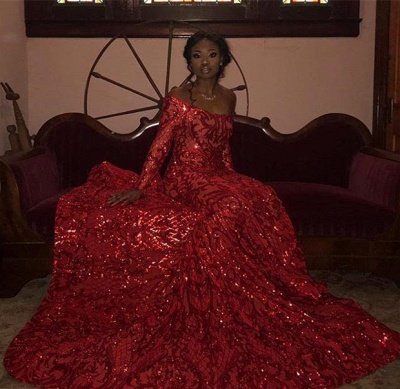 Off the Shoulder Long Sleeves Sequin Red Prom Dresses_4