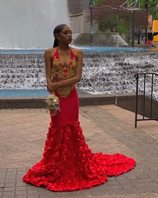 Two Piece Halter Deep V-neck Appliques Red Mermaid Prom Dresses_2