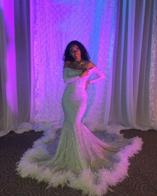Off the Shoulder Long Sleeves Sequin Mermaid Prom Dresses with Fur_3