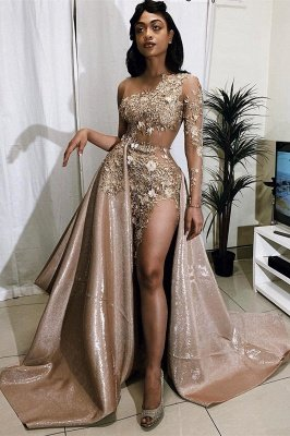 Jewel Long Sleeves Sheer Appliques A-line Prom Dresses_1