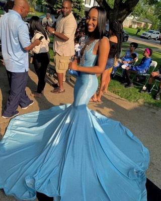 Deep V-neck Straps Sparkly Mermaid Prom Dresses_2