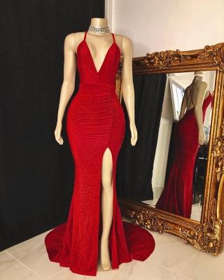 Spaghetti Straps Deep V-neck Thigh Slit Red Long Prom Dresses_2