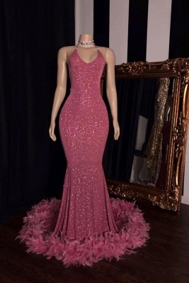 Women's Fashionable Spaghetti Straps V-neck Sequined Mermaid Prom Dresses_1
