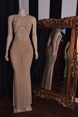 Elegant Jewel Sleeveless Floor Length Beaded See-Through Prom Dresses