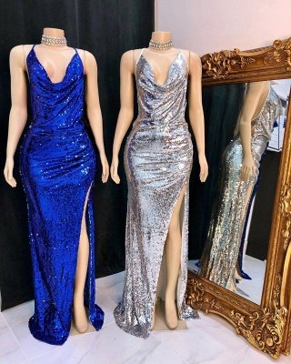 Draped Neckline Spaghetti Straps Sequined Long Prom Dresses with High Slit_2