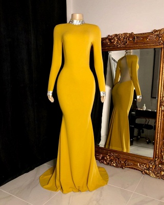 Women's Gorgeous High Neck Long-Sleeve Open Back Prom Dresses in Yellow_3