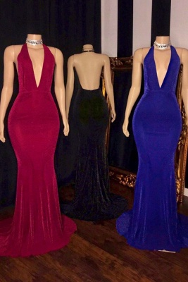 Halter Deep V-neck Sleeveless Sheath Cheap Floor Length Prom Dresses