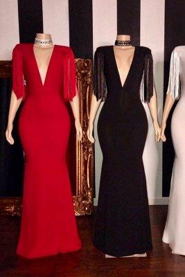 Elegant Deep V-neck Long Sheath Prom Dresses with Fringes on Sleeves_1