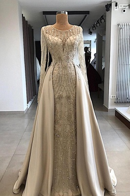 Gorgeous Jewel Long Sleeves Beaded Prom Gowns