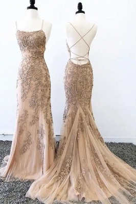 Criss-cross Straps Lace Fitted Long Prom Dresses | Trendy Applique Evening Dresses_3