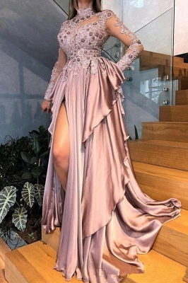 High Neck Long Sleeves Side Slit Pink Prom Dresses with Beads