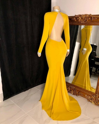 Women's Gorgeous High Neck Long-Sleeve Open Back Prom Dresses in Yellow_2