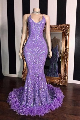 Lilac Spaghetti Straps Sequined Mermaid Prom Dress with Fur Trimmed
