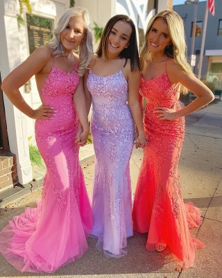 Criss-cross Straps Lace Fitted Long Prom Dresses | Trendy Applique Evening Dresses_5