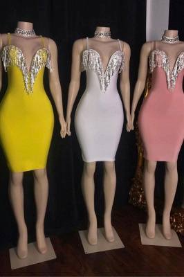 Hot Sexy Spaghetti Straps Bodycon Short Party Dresses with Fringes