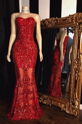 Sparkly Strapless Sweetheart Floor Length Red Prom Dresses_1
