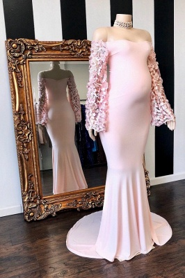 Lovely Off the Shoulder Long Sleeves Pink Baby Shower Dresses_1