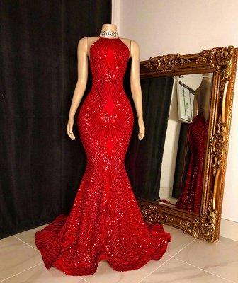Halter Sleeveless Sequin Mermaid Red Long Prom Dresses_2