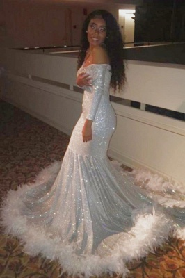 Off the Shoulder Long Sleeves Sequin Mermaid Prom Dresses with Fur_2