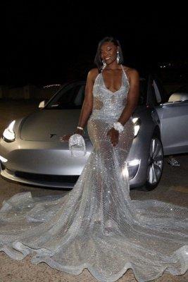 Spaghetti Straps V-neck Sparkly Sheer Mermaid Prom Dresses