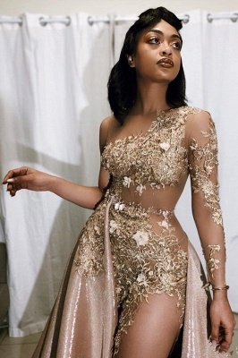 Jewel Long Sleeves Sheer Appliques A-line Prom Dresses_2