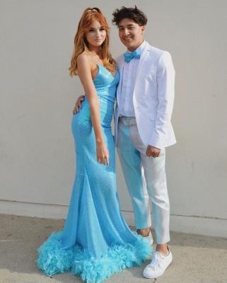 Sparkly Spaghetti Straps V-neck Sequined Blue Mermaid Prom Dresses_2