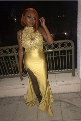 High Neck Sleeveless Side Slit Appliques Fitted Prom Dresses