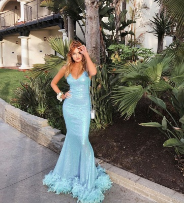 Sparkly Spaghetti Straps V-neck Sequined Blue Mermaid Prom Dresses_3