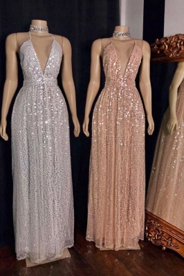 Glitter Spaghetti Straps Deep V-neck Sequined Aline Long Prom Dresses