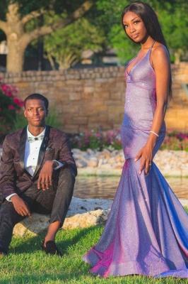 Halter V-neck Purple Metallic Mermaid Floor Length Prom Dresses